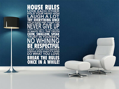 £16.95 • Buy House Rules Wall Art Quote, Wall Sticker, Vinyl Transfer, Decal Modern Wall Art