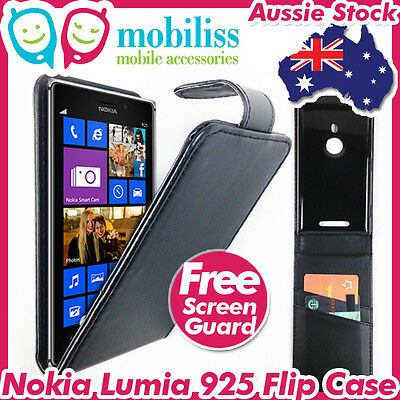 AU7.95 • Buy Nokia Lumia 925 PU Leather Flip Case Cover Wallet Card Holder Screen Protector
