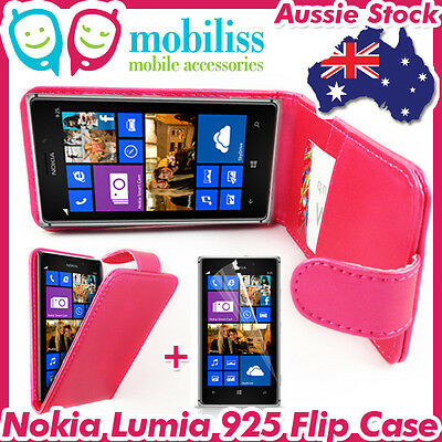 AU7.95 • Buy Nokia Lumia 925 Pink PU Leather Flip Case Cover Wallet Card Holder Screen Guard