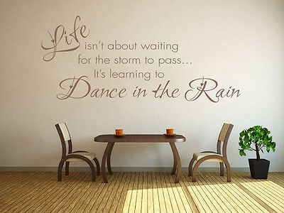 £17.95 • Buy Learning To Dance In The Rain Wall Art Quote, Sticker, Decal, Modern Transfer