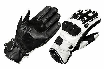 £16.95 • Buy Motorcycle Bike Scooter Short Sports Leather Carbon Knuckle Guard Summer Gloves
