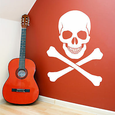 SKULL AND CROSSBONES PIRATES HORROR Vinyl Wall Art Sticker Decal • 10.99£