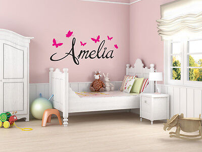 £10.95 • Buy PERSONALISED Name With Butterflies Wall Art Sticker, Modern Decal , Vinyl