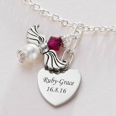 Ladies Angel Necklace With Birthstone & Engraved Heart. Jewellery With Engraving • 18.99£