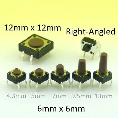 Momentary Tactile Switch SPST Push Button Miniature Micro PCB Mounted • 2.38£