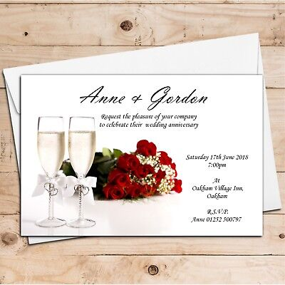 10 Personalised 1st 2nd 5th 10th Wedding Anniversary Invitations N3 ANY YEAR • 4.85£