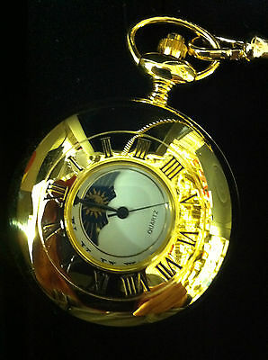 £77.95 • Buy Gold Plated Moonphase  Pocket Watch With Chain And  Free Engraving Plate