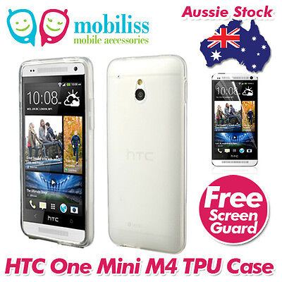 AU5.95 • Buy Clear Jelly TPU Gel ISkin Case Cover For HTC ONE Mini M4 Screen Protector