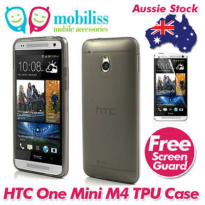 AU5.95 • Buy Black Jelly TPU Gel ISkin Case Cover For HTC ONE Mini M4 Screen Protector