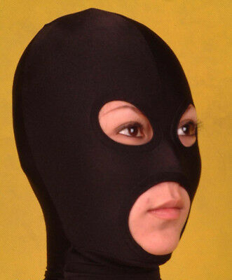 £9.45 • Buy Fancy Dress Party Spandex Zentai Black Open Eyes And Mouth Mask/hood