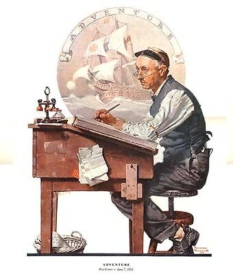 $ CDN20.04 • Buy Norman Rockwell Accountant Dreams Print ADVENTURE
