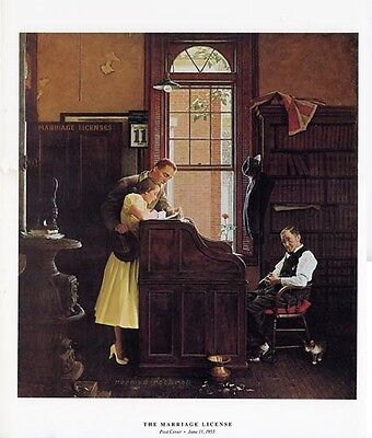 $ CDN33.32 • Buy Norman Rockwell Young Love Print THE MARRIAGE LICENSE