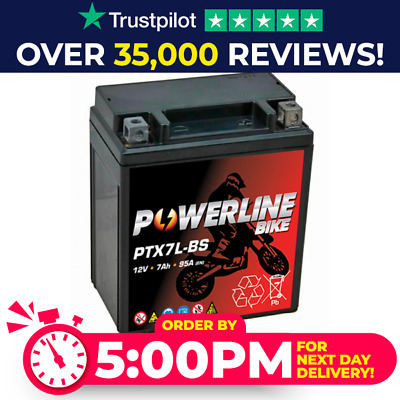 Powerline Motorcycle Battery YTX7L-BS 50614 GTX7L-BS FTX7L-BS ETX7L-BS 12V • 24.95£