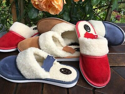New Lady Women Sheepskin Suede Leather Slippers Wool Garden Home Socks Flip-Flop • 7£