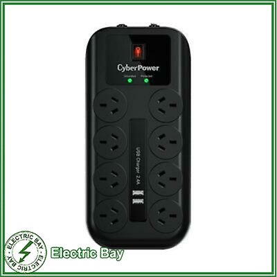 AU39 • Buy CyberPower 8 Port 8 Way Surge Protector Protection Power Board 2 X USB 2.4A Port