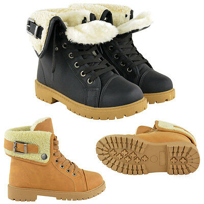 Womens Ladies Snow Winter Fur Lined Ankle Boots Flat Low Heel Grip Sole Size • 14.99£