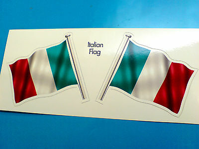 ITALIAN ITALY Flag & Pole Motorcycle Car Bumper Stickers Decals 2 Off 60mm • 1.99£