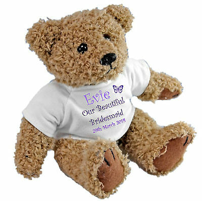 £11.95 • Buy Personalised Teddy Bear Wedding Favour  Page Boy / Flower Girl / Bridesmaid GIFT