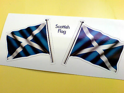 SCOTTISH SALTIRE Flag & Pole Motorcycle Car Bumper Stickers Decals 2 Off 60mm • 1.99£