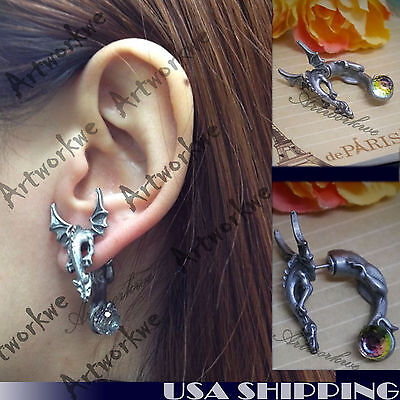 $7.99 • Buy Cool 3D Dragon With Wings Puncture Ear Stud Womens Mens Unisex Earring One Piece