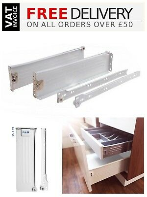 £4.70 • Buy Kitchen Metal Drawer Box Sides / Kitchen Roller Runners (all Sizes) White/Silver