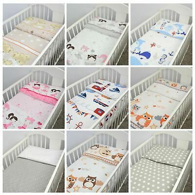 2 Pce Kids Nursery Set Pillowcase & Duvet Cover Fit Crib / Cot Bed Baby Bedding • 12.99£