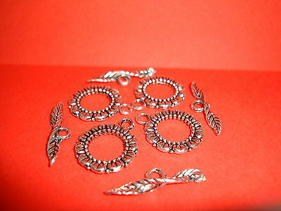 10pcs Silver Tone Flower Toggle Clasps Jewellery Making Findings  • 2.29£