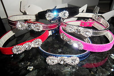 £5.99 • Buy Crystal Diamante Bow  Dog Puppy Cat Kitten Collar Xsm Sm Med Large 9 Colours