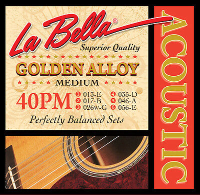 $ CDN10.99 • Buy La Bella 40PM GOLDEN ALLOY – MEDIUM Guitar String Set