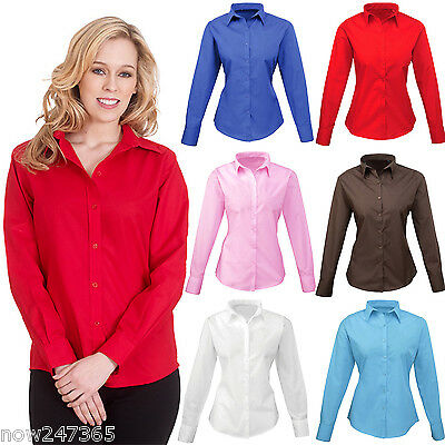 Ladies Shirt Smart Office Formal Work Size 8 To 24 Easy Care Button Blouse NEW • 9.95£