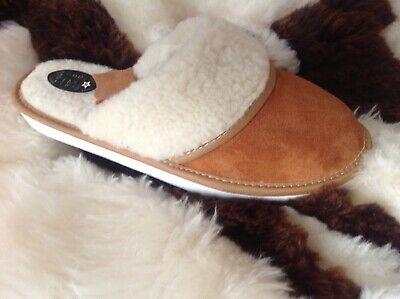 New Soft LeatherSlippers Women Lady Real Sheepskin Garden Home Chestnut  • 7£
