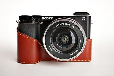 $ CDN46.81 • Buy Handmade Genuine Real Leather Half Camera Case Bag Cover For Sony A6000 Brown