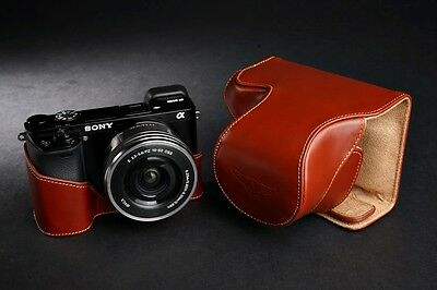AU83.87 • Buy Handmade Genuine Real Leather Full Camera Case Bag Cover For Sony A6000 Brown