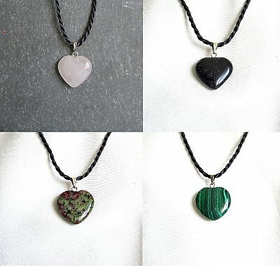 Small HEART Shaped Stone Pendant With Twisted Cord Necklace - Choice Of Stones • 2.95£