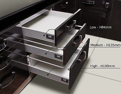 £24.50 • Buy Soft Close Kitchen Drawer Box Sides / Drawer Runners (all Sizes) Grey Or White