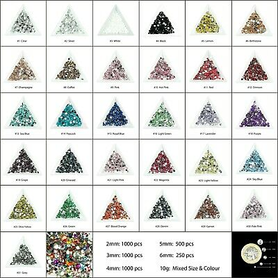 1000 Choose Colour Crystal Flat Back Nail Art Face Festival Rhinestones Gems  • 1.20£
