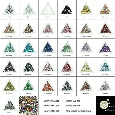 1000 Choose Colour Crystal Flat Back Nail Art Face Festival Rhinestones Gems  • 1.49£