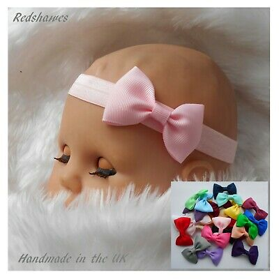 Baby Headband With 5cm Bow - Soft Elasticated Outfit Party Christening 1ST CLASS • 2.30£