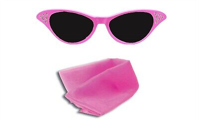 AU7.17 • Buy Ladies Pink Fancy Dress Glasses And Pink Scarf Sandy 50's 1950s Costume
