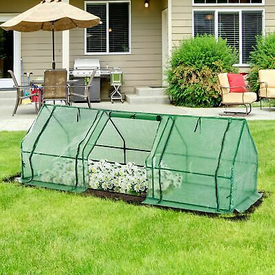 Outsunny Steeple Polytunnel Greenhouse Grow Tent Steel Frame 2.7x0.9x0.9m • 34.99£