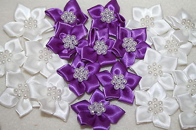 Satin Flower & Pearl Bows 20pcs Wedding Stationary Scrapbook Embellishment Trim  • 3.79£