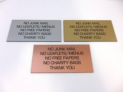 Engraved Brushed Metal Effect Sign 100x50 No Junk Mail/Leaflets/Free Papers/Bags • 3.95£