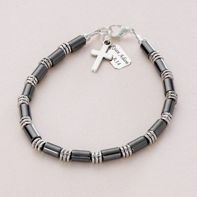 Boys Personalised Bracelet With Any Engraving! First Holy Communion Gift For Boy • 18.99£