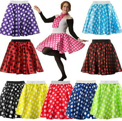 Ladies Polka Dot Skirt & Scarf Rock & Roll 50's Fancy Dress Hen Party Grease • 4.95£