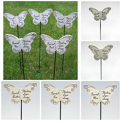 £3.85 • Buy Memorial Butterfly Stick Plaque Tribute Spike Graveside Stake Remembrance Marker