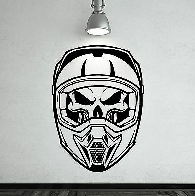 SKULL HELMET Vinyl Wall Art Sticker Decal • 12.99£