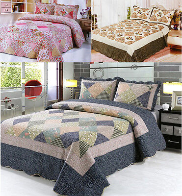 £19.95 • Buy 3Pcs Quilted Bedspread Throw Set Comforter 2 Pillow Cases Shams Double King Size