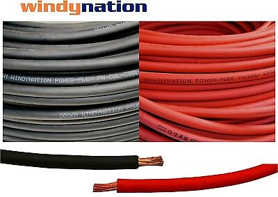 50' 2 AWG WELDING CABLE  25 Red 25 Black GAUGE COPPER  WIRE BATTERY SOLAR LEADS • 83.99$