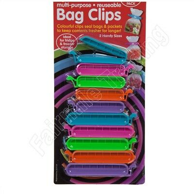 10 Bag Clips Reusable Tie Plastic Storage Sealing Fridge Freezer Food Fresh • 2.49£