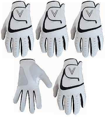 5 All Weather Soft Golf Gloves Leather Palm Patch V Logo 6 Designs  • 13£
